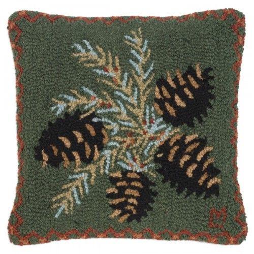 Diamond Pinecone Pillow | Rug hooking designs, Wool ...
