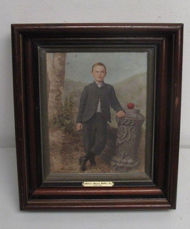 Victorian Eastlake Deep Shadow Box Frame Hand Painted Portrait Boy ...