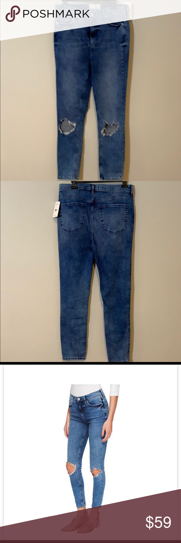NWT Free People High Rise Skinny Jeans New with Tags Color is turquoise  See pics for approx measurements  Bin18 #1190/4/23 Free People Jeans Skinny