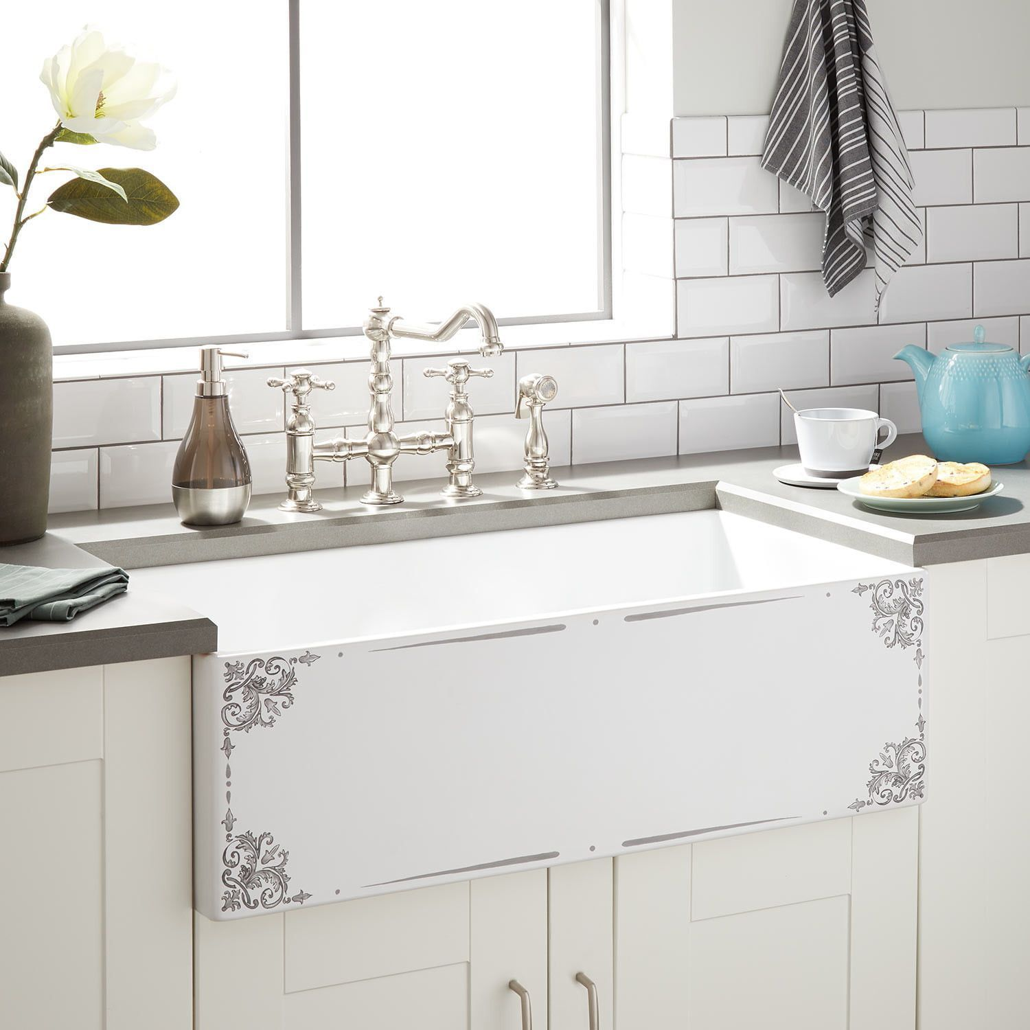 30 Emanuele Fireclay Farmhouse Sink In Gray Motif Signature Hardware Emanuele Farmhouse Fireclay Gray Gra Fireclay Farmhouse Sink Farmhouse Sink Sink