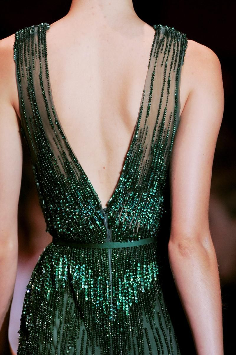 Elie Saab Fall 2013 Couture- Inspired by jewels in a crown: emerald, sapphire, and ruby.