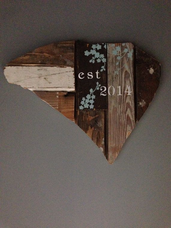 Customizable Wooden State Sign - Hand Painted on Reclaimed Wood - Country Chic Decor - EST 2014 - Cherry Blossoms - South Carolina on Etsy, $48.00