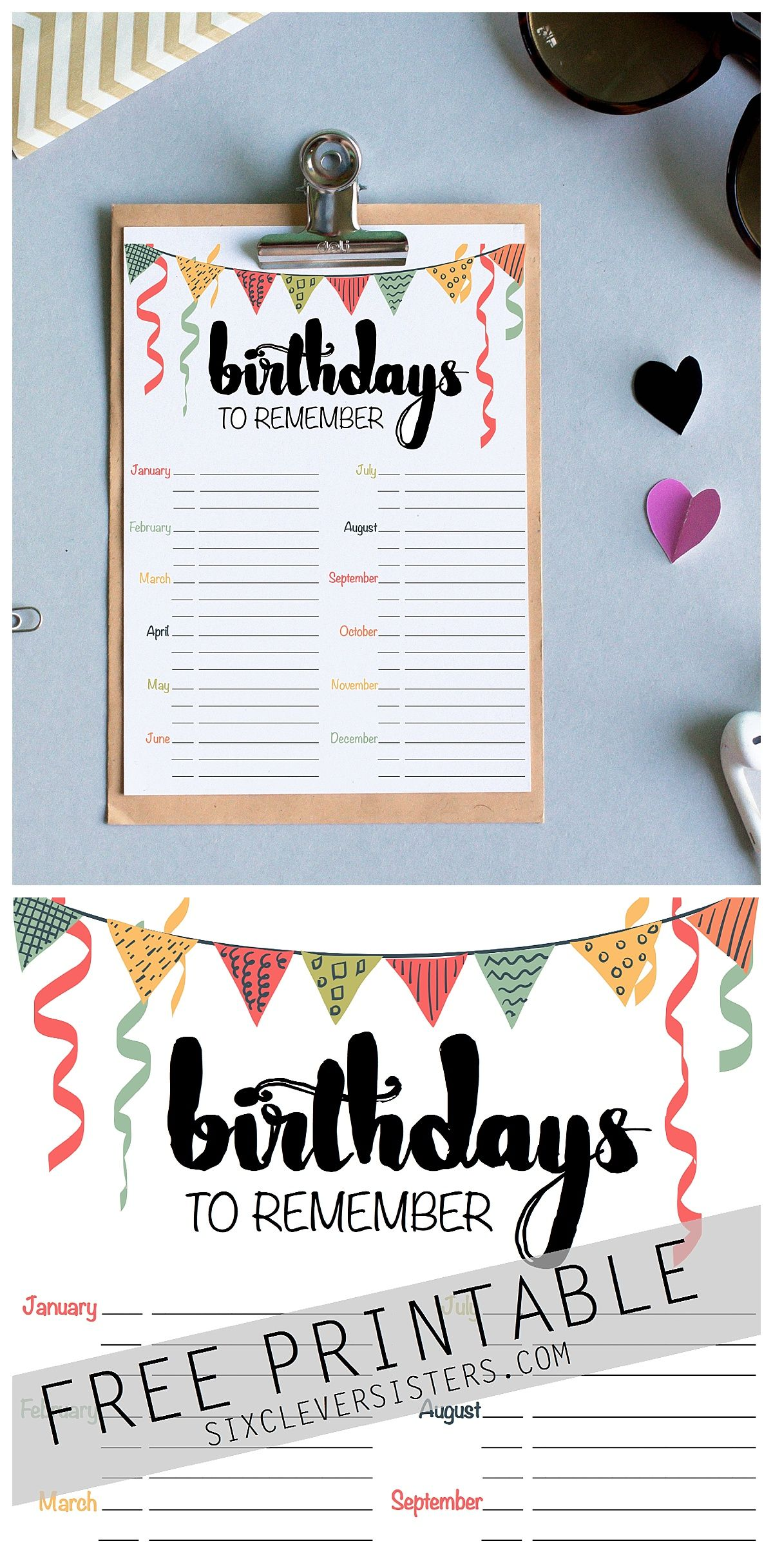 Birthday Reminder Free Printable Six Clever Sisters Happy Birthday Cards Printable Birthday Reminder Happy Birthday Printable