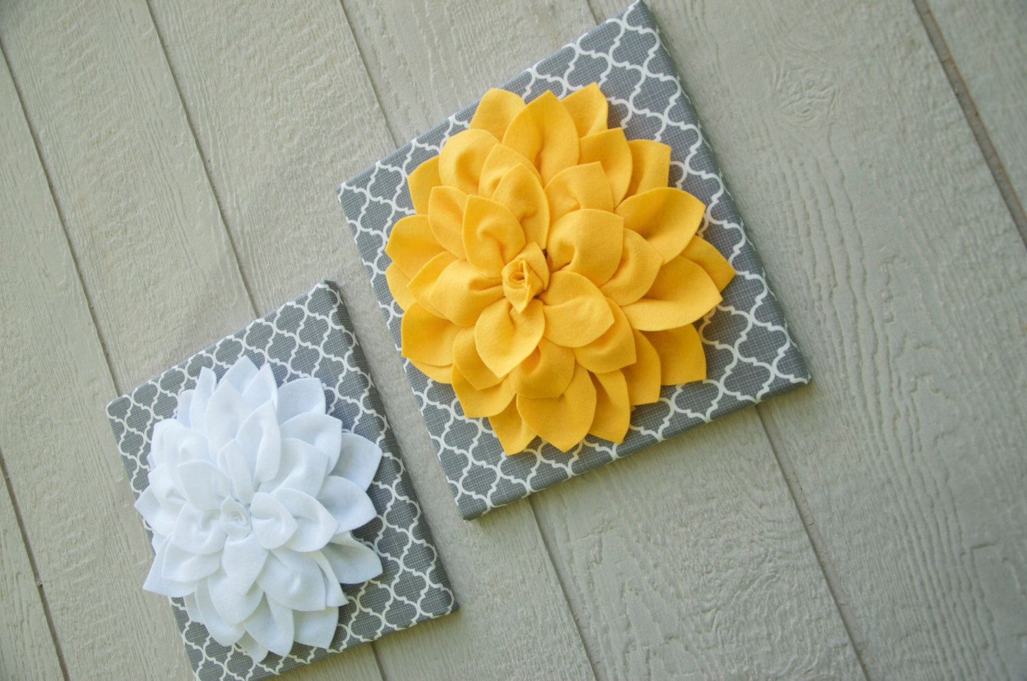 Wall Decor - Felt Flower Canvas - Set of 2 - Grey & White Trellis ...