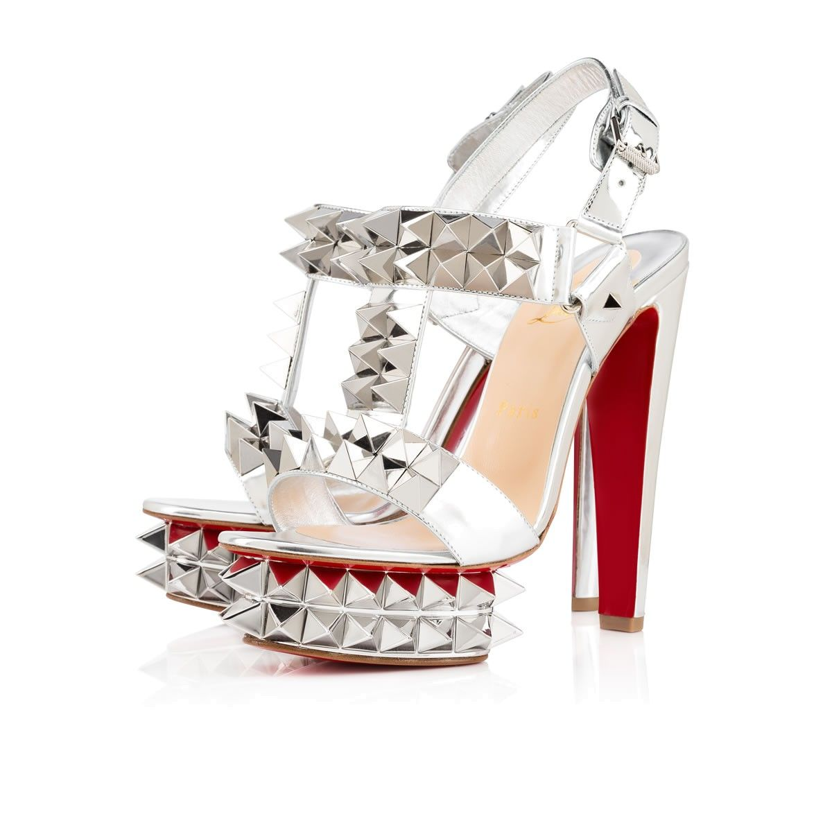 150 Shoes Christian Leather Louboutin Women Cybersandale Silver nP0kw8O