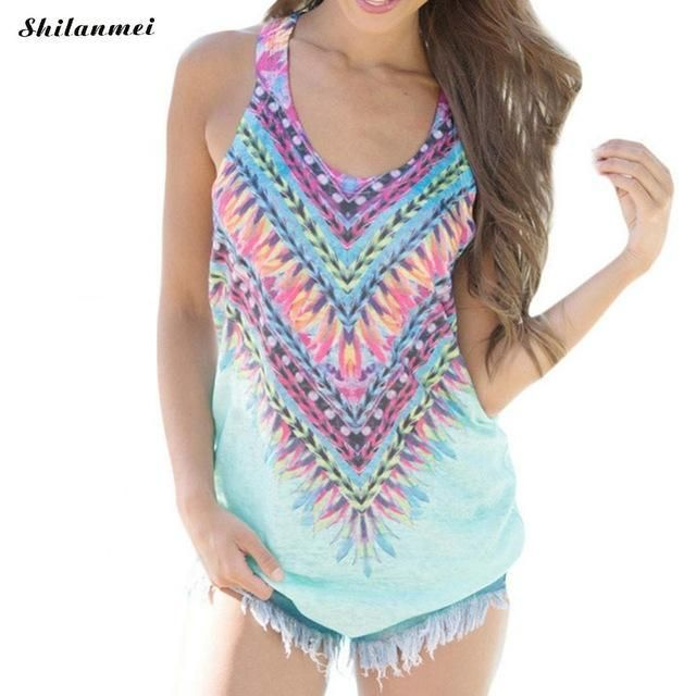 42076b17b57 Bohemian Geometric Print Colorful Sleeveless Tank Top