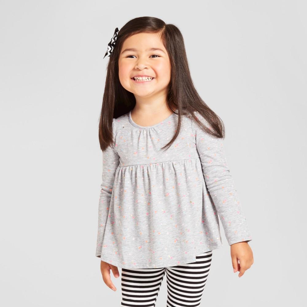 49f75744c Toddler Girls  Long Sleeve Peplum T-Shirt - Gray Cat   Jack™ 5T in ...