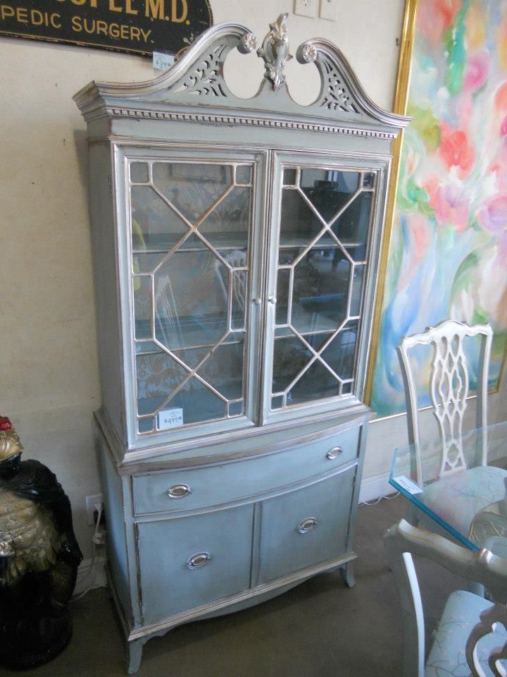 Light Blue, White & Silver Distressed China Cabinet