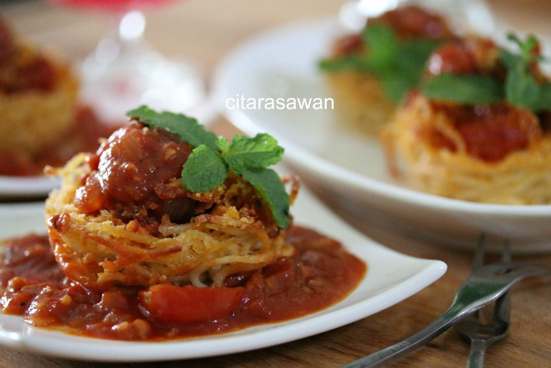 Spaghetti Meatballs Nest Muffin Resipi Citarasawan Bakso Spageti Rebusan