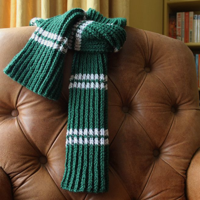 f6b9d330a40 Slytherin scarf with knitting pattern.