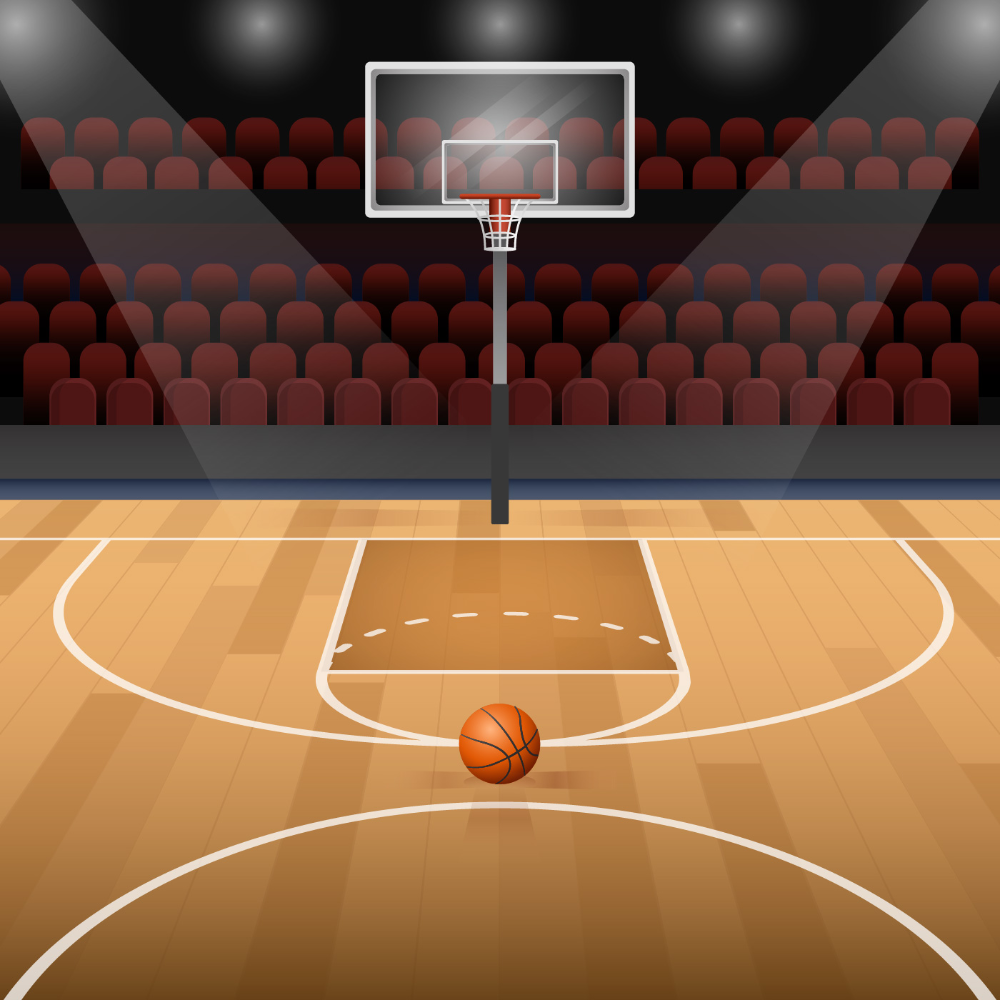 Basketball Court With Basketball Vector Illustration Download Free Vectors Clipart Graphics Vector In 2020 Basketball Painting Basketball Court Basketball Videos