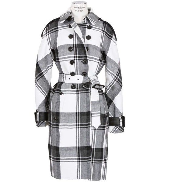 Burberry Prorsum Black And White Tartan Wool Trench-Coat ($1,625) ❤ liked on Polyvore