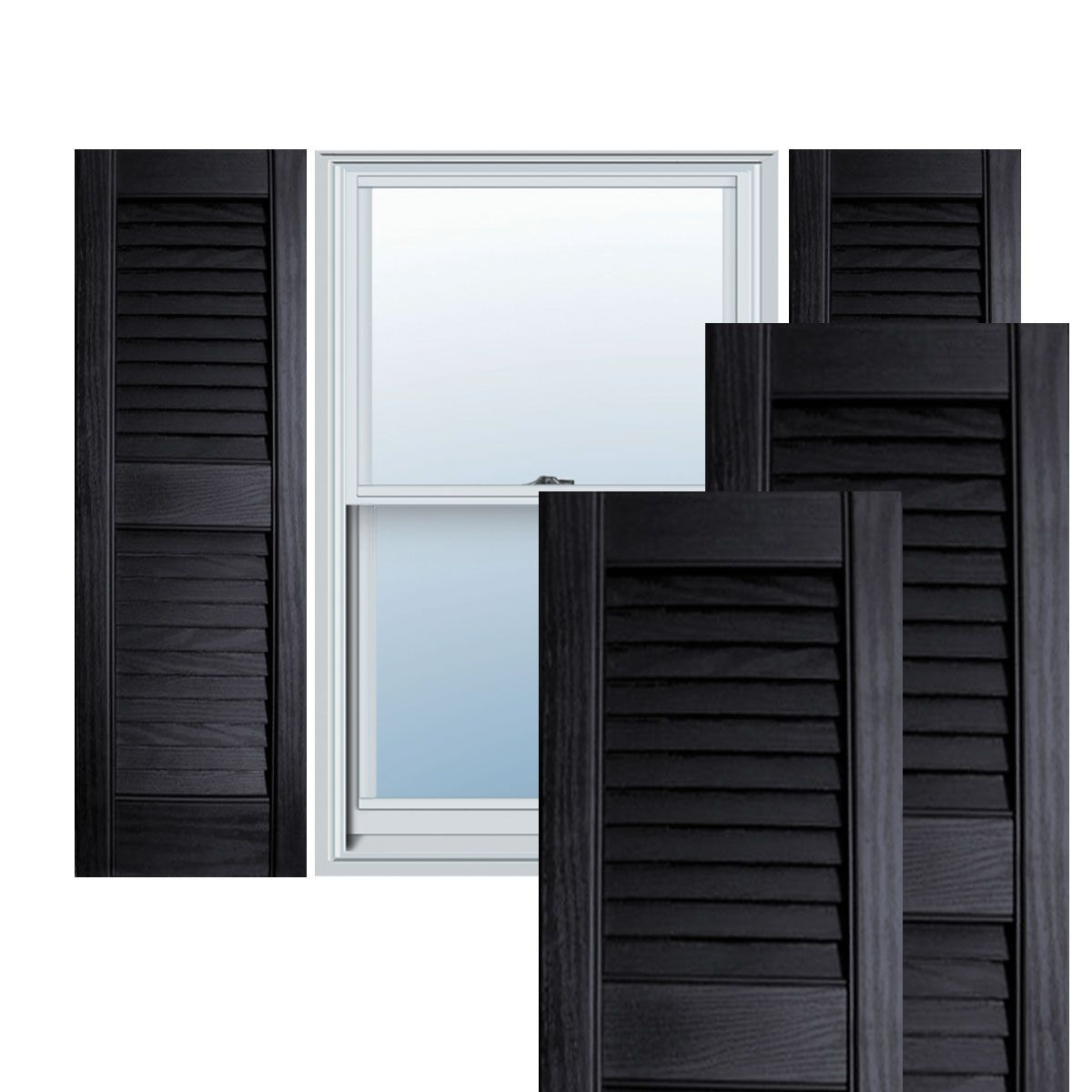 12 Inch X 59 Inch Builders Choice Vinyl Open Louver Window Shutters W Shutter Spikes Screws Per Pair Black Window Shutters Interior Window Shutters Exterior Vinyl Shutters