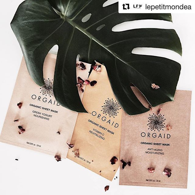 Let's hear what @lepetitmondea is saying about us! 😊 ・・・ I've tried probably almost all of the sheet masks out there I can say @orgaid is by far my favorite. Each mask contains all natural and organic ingredients, plus they're free of parabens/alcohol/phthalates/sulfates and unnecessary fragrance. They have serious concentrated serums in each mask that delivers nutrition deeper into your skin. It's hard to pick a favorite from @orgaid but the Greek Yogurt Nourishing mask is my go-to from…