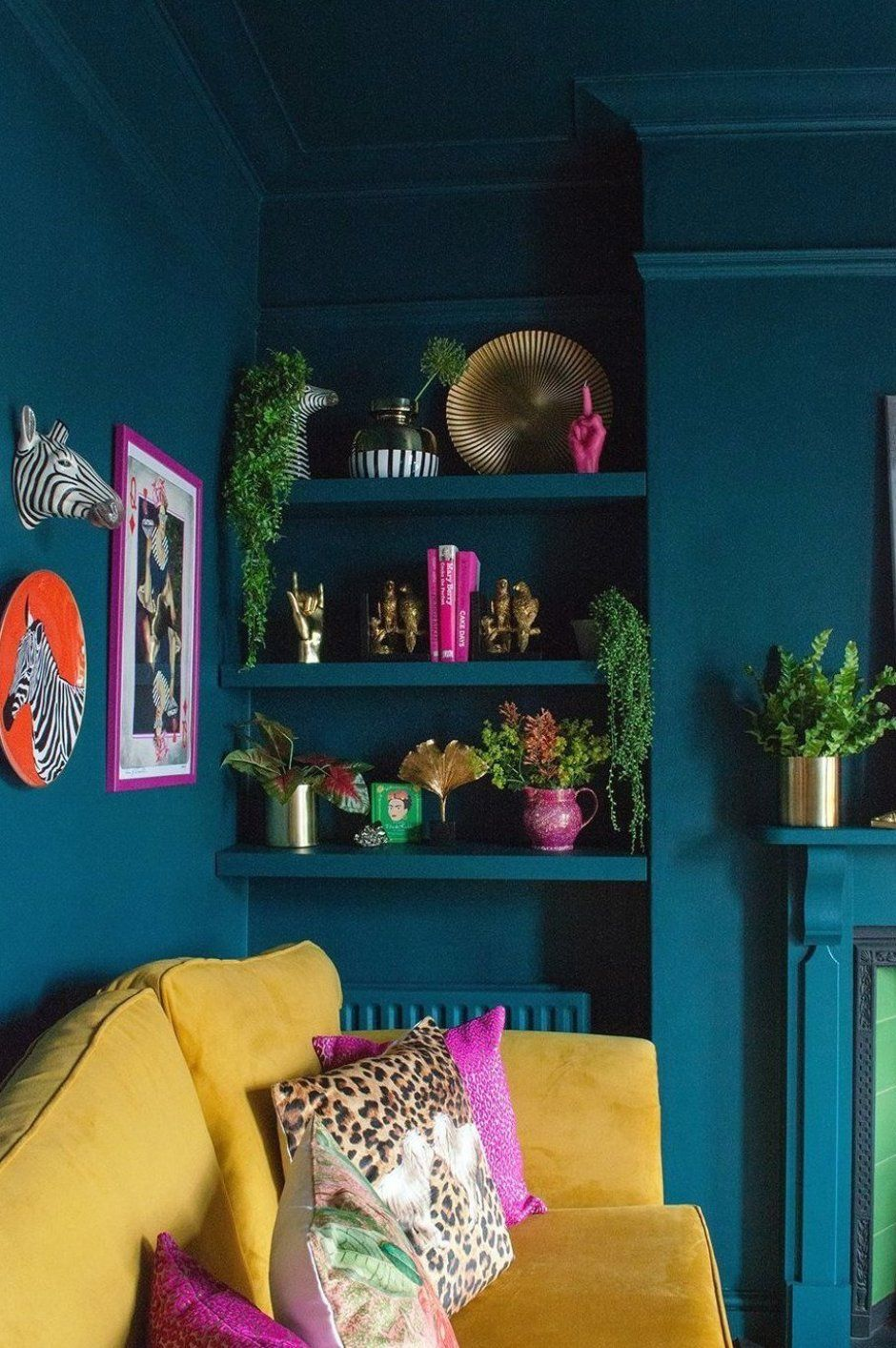Photo of Teal and mustard living room  Colourful  maximalist decor in