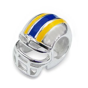 Yellow and Blue Football Helmet Charm Bead - Pandora Compatible