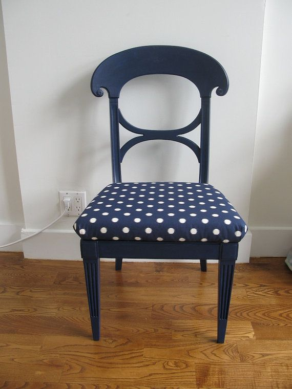 Upcycled Upholstered Navy Blue Chair Sold