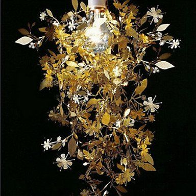 60W Nature Inspired Pendant Light With Garland Crowned Shade Stainless  Steel: Amazon.co.