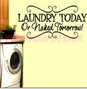 """Cute Laundry Quotes Stunning Laundry Today Or Naked Tomorrow"""" Cute Laundry Room Quote Decorating Inspiration"""