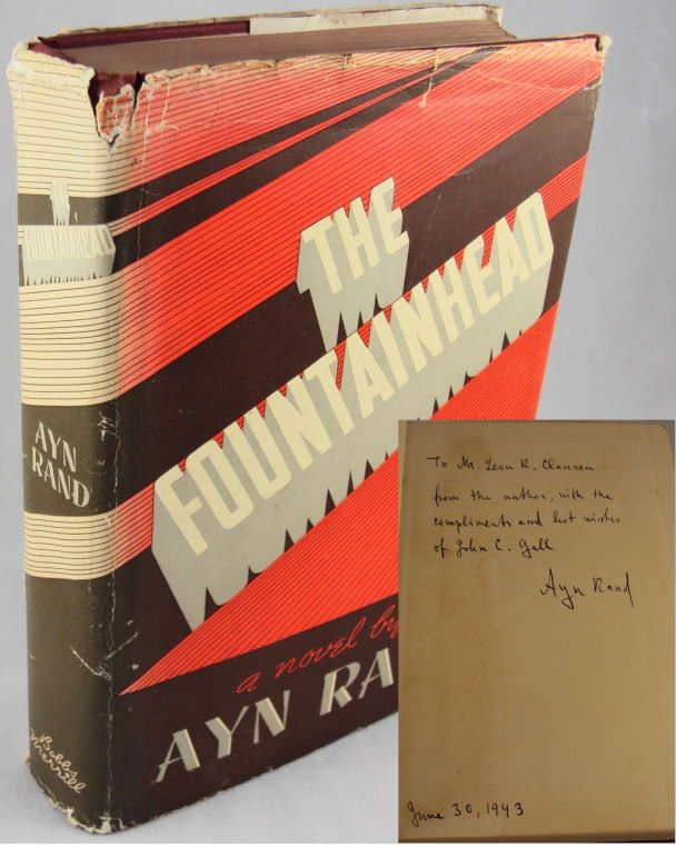 """THE FOUNTAINHEAD INSCRIBED FIRST EDITION 