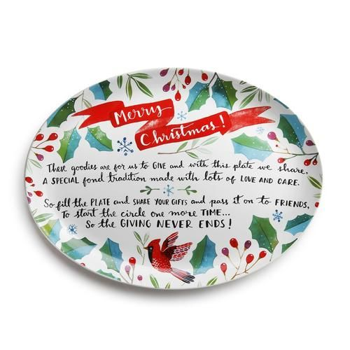 Holiday Ceramic Giving Plate with Poem #mistletoesfootprintcraft