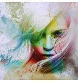 Mixed-Art schilderij Gezicht 100x100cm MN-MX008