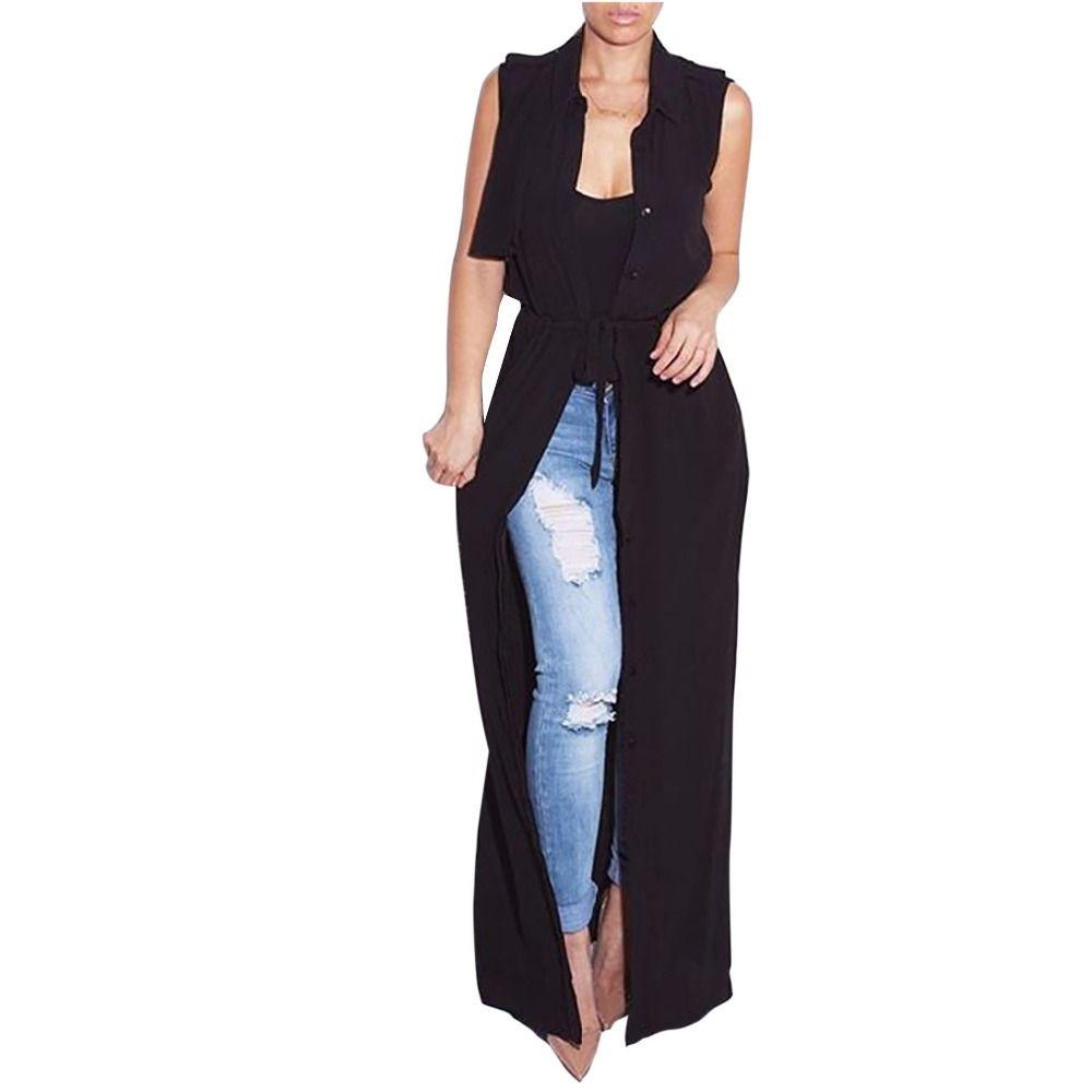 Adogirl Women Long Chiffon Blouse New Fashion Black Sleeveless ...