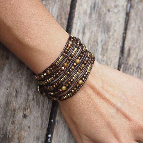 Tiger eye mix wrap bracelet, Boho bracelet, Beadwork bracelet