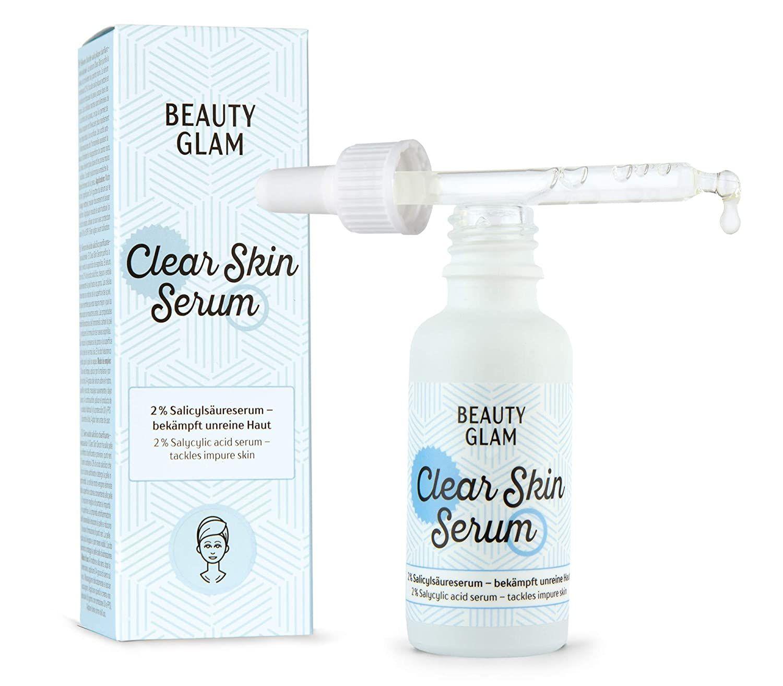 Beauty Glam Clear Skin Serum Gesichtsserum Gegen Akne Und Unreine Haut Mit 2 Salicylsaure Bha Fur Ein Klarere In 2020 Unreine Haut Gesichtsserum Gesicht Serum