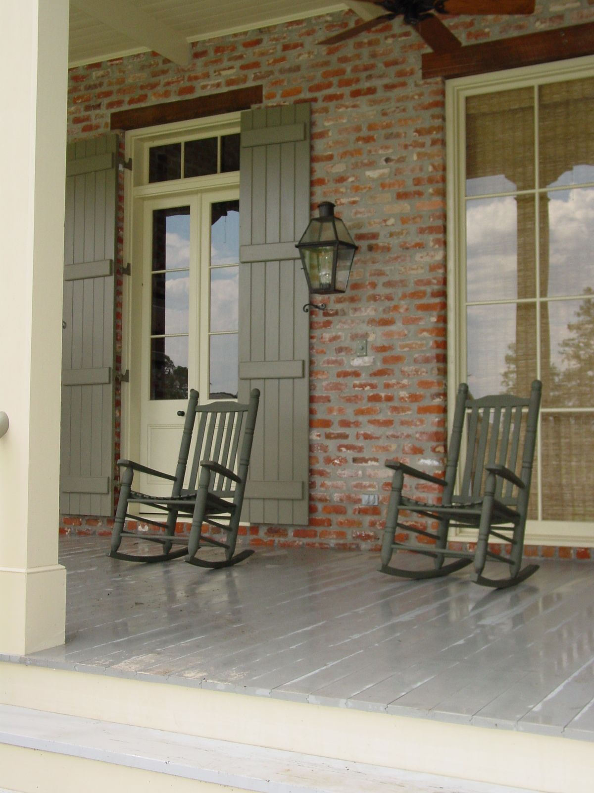 Red Brick House With Shutters Ranch Front Doors