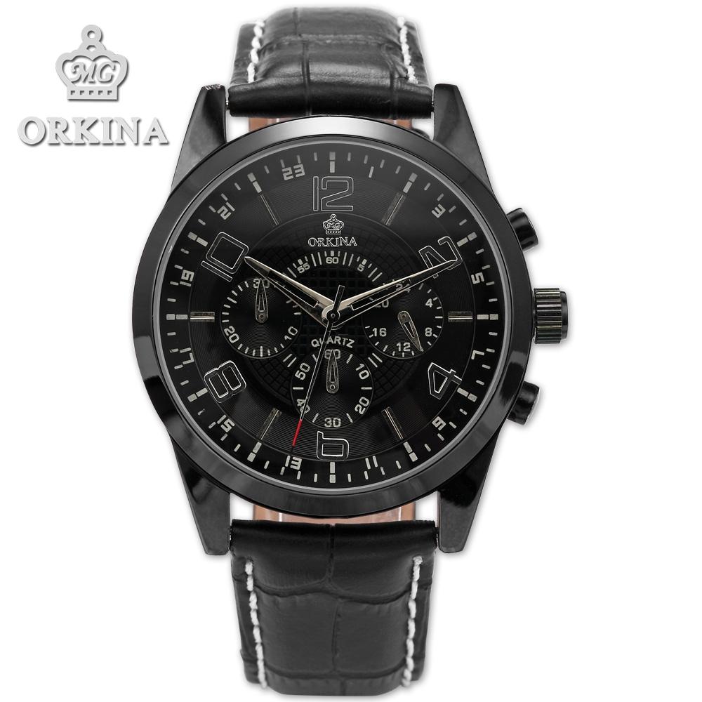 (26.87$)  Watch more here - http://ai2no.worlditems.win/all/product.php?id=32609662175 - Orkina Clock 2016 New Luxury Herren Armbanduhr Quarzuhr Armband aus Leder Datumanzeige Cool Horloges