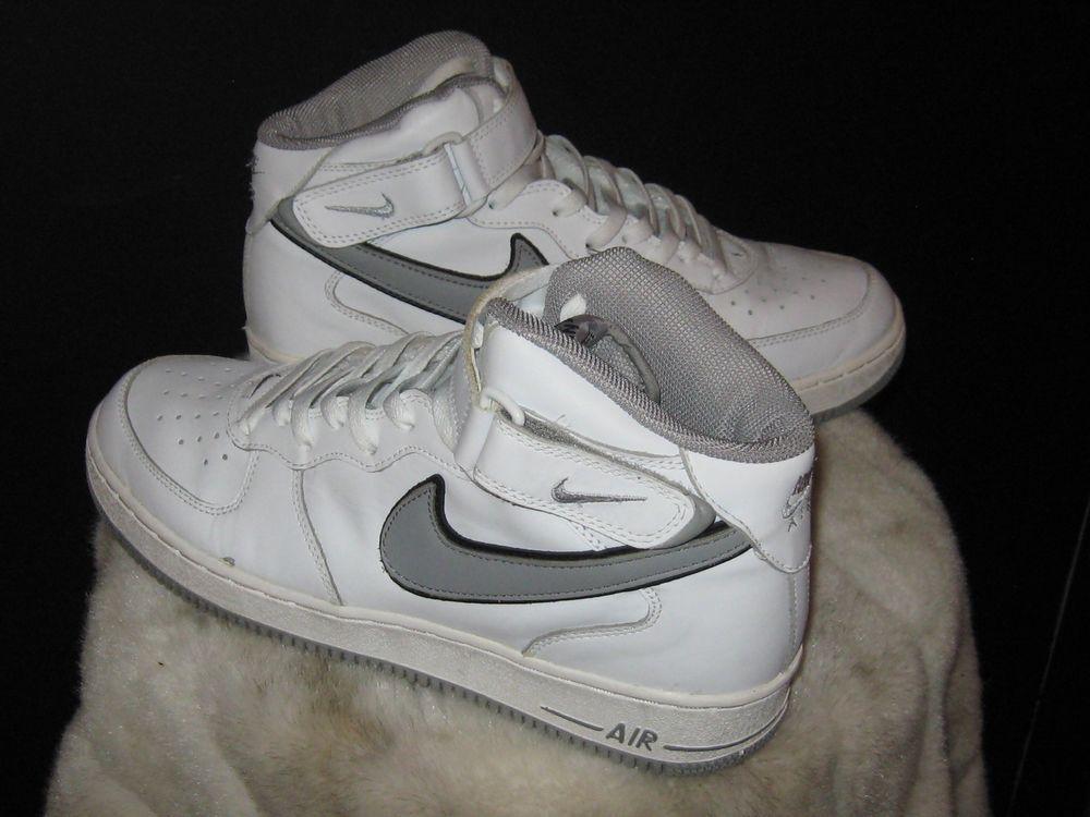 Men s Nike Air Force 1 High Top Ankle Strap Sneakers Sz 11.5 White Gray   Nike  BasketballShoes 98b315300