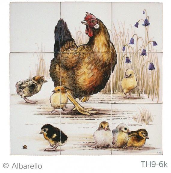 Witjes beschilderd als tableau. Kip met kuikens | Kersbergen.nl