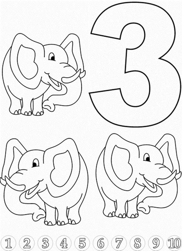 Learn Number 3 With Three Elephants Coloring Page Bulk Color Elephant Coloring Page Precious Moments Coloring Pages Witch Coloring Pages