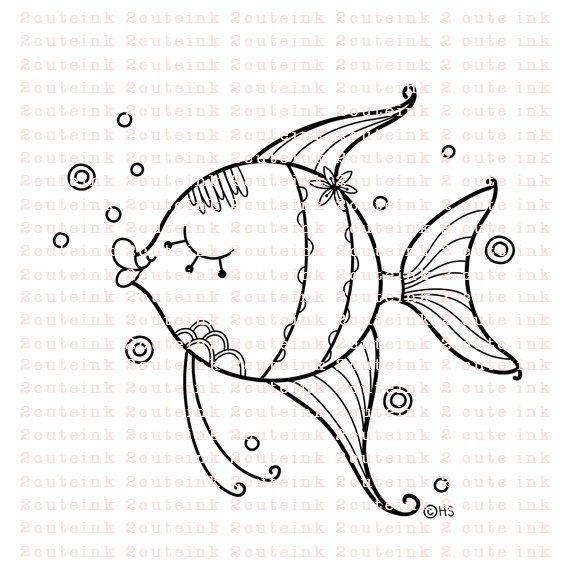 Angel Fish Doodle Digital Stamp For Card Making | Bordado mejicano ...