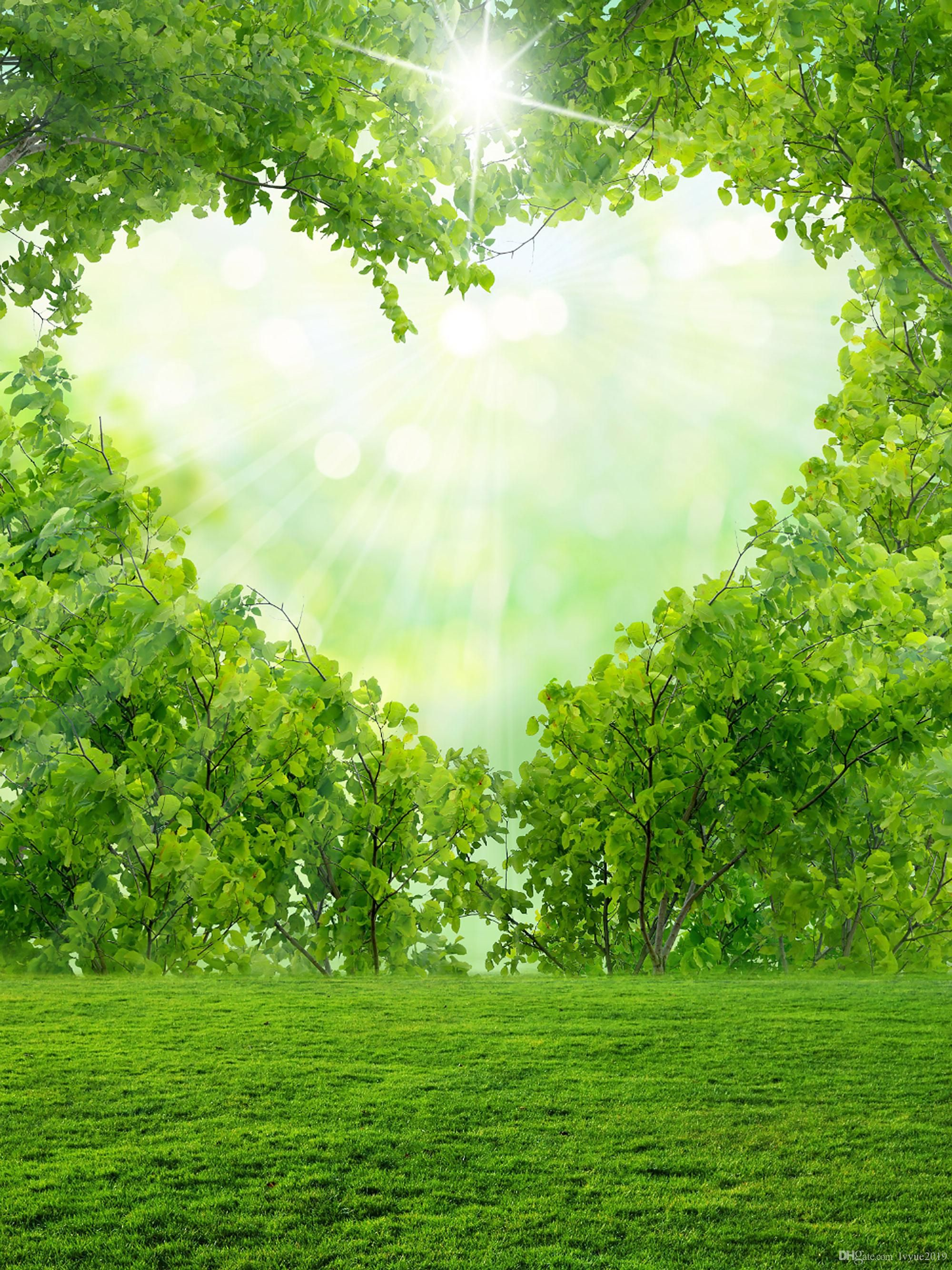 LFEEY 10x10ft Vinyl Photography Backdrop Love and Romance Fresh Green st.Patricks Day Bokeh Green Hearts Valentines Day Fresh New Life Creative Wallpaper Spring Photo Background