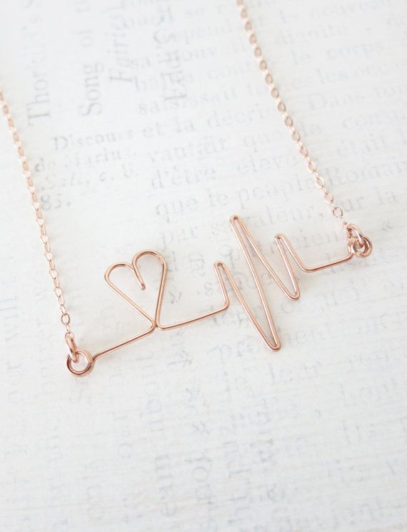 Heartbeat Necklace - Rose Gold Filled Wired, hand wired heartbeat ...
