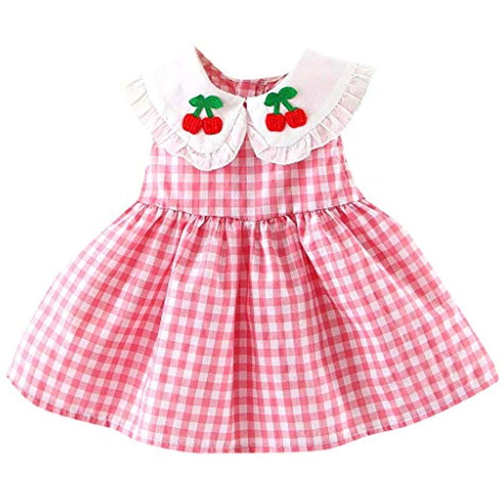 2eb458cc6 K-Youth Vestido de Verano Bebé Niña Ropa Recién Nacido Niños Vestidos a  Cuadros Bordado