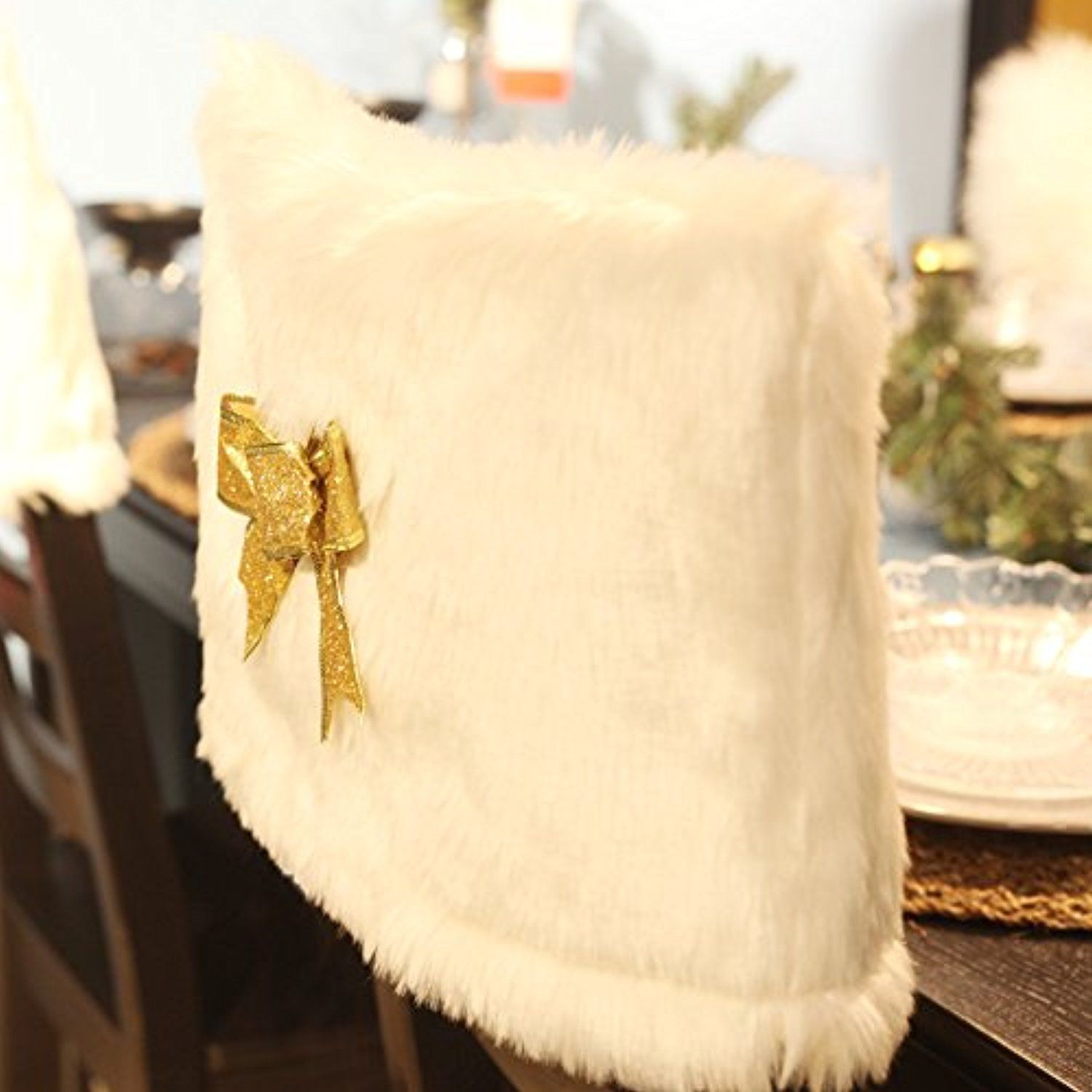Teeter Totter Faux Fur Slip Chair Cover Sets with Metallic