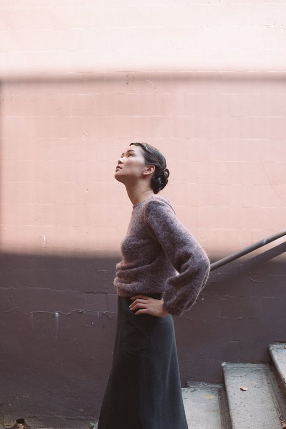 Pale plaster pink and tones of mauve and purple - beautiful portrait composition