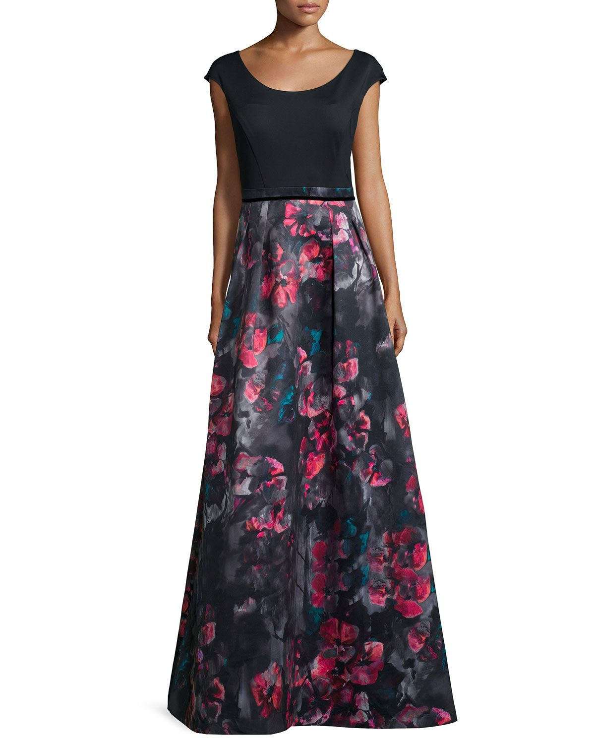 Cap-Sleeve Combo Floral-Print Combo Gown, Size: 4, Black Multi - Kay Unger New York