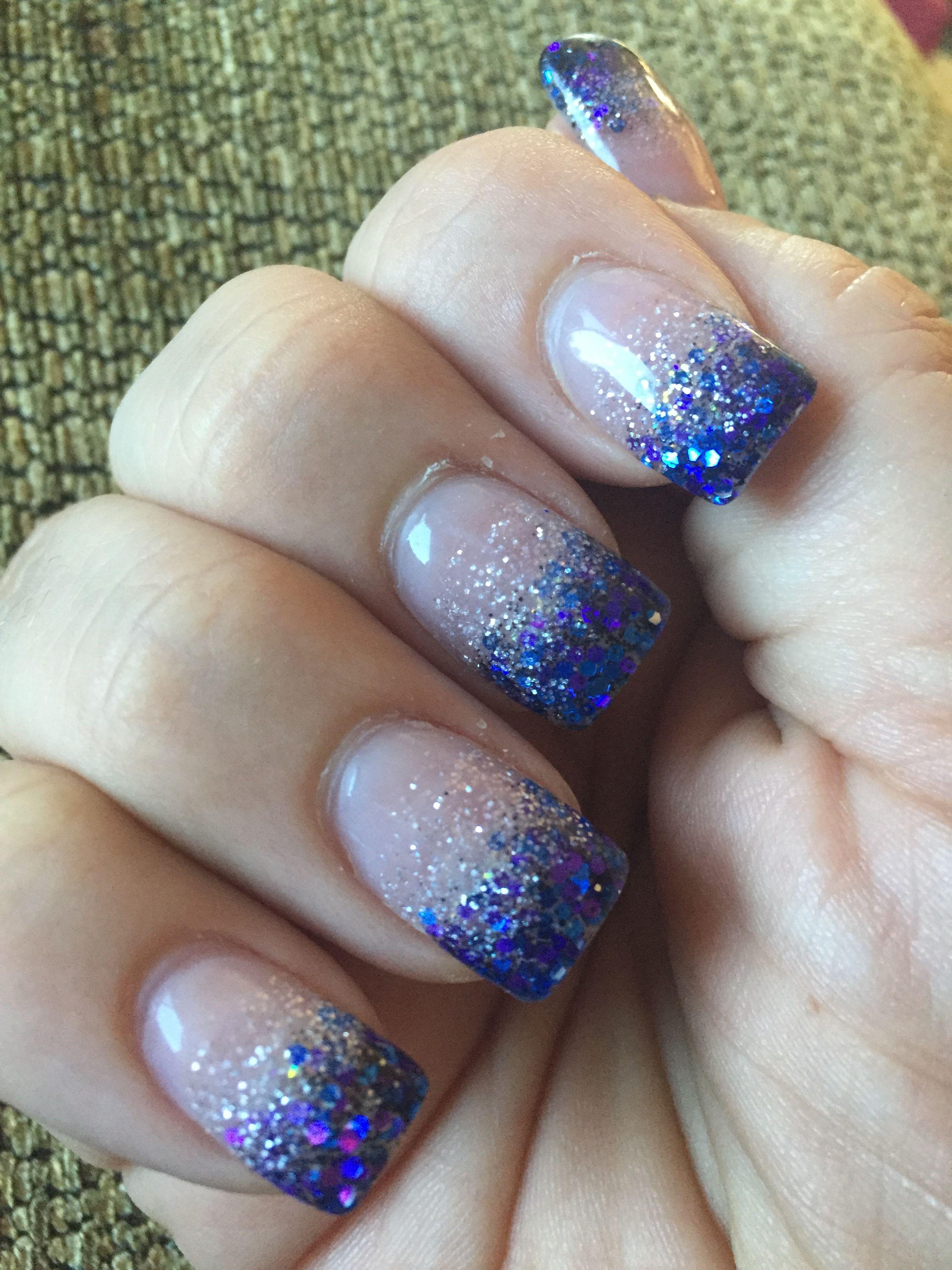 Gel Nails Blue Purple Glitter Purple Glitter Nails Blue Nails Gel Nails