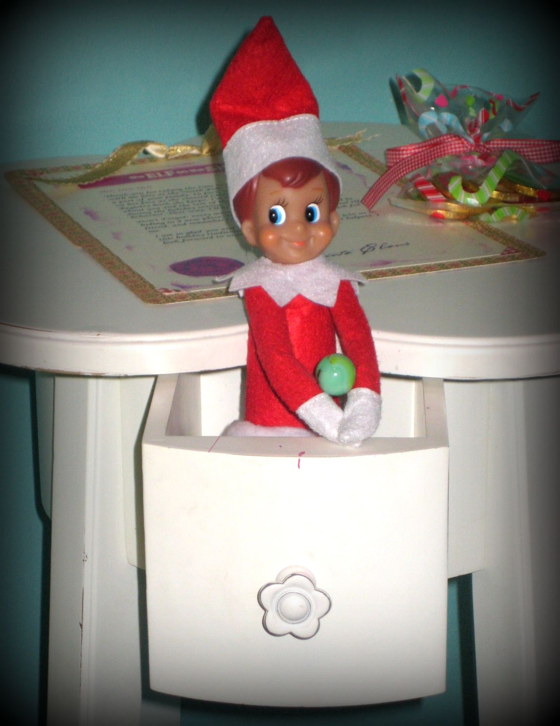 Elf On The Shelf Clarice Got Into The Marbles And Scattered Them Everywhere Elf On The Shelf Holiday Decor Shelves