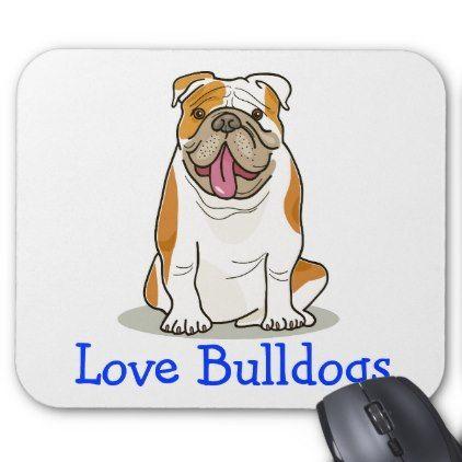 Love English Bulldog Cartoon Puppy Dog Mouse Pad Zazzle Com