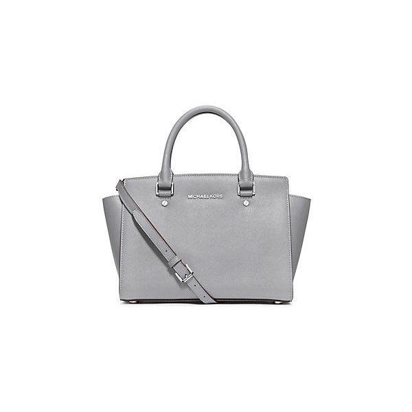 48f59df64d Michael Kors Selma Medium Saffiano Leather Satchel, Dove(White) ($156) ❤  liked on Polyvore featuring bags, handbags, white purse, michael kors  purses, ...