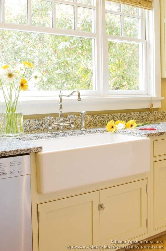 Kitchen Idea of the Day: Cottage Kitchen with Apron Sink (aka Farm on kitchen island with farm sink, kitchen window trim ideas, kitchen nook with storage seat,