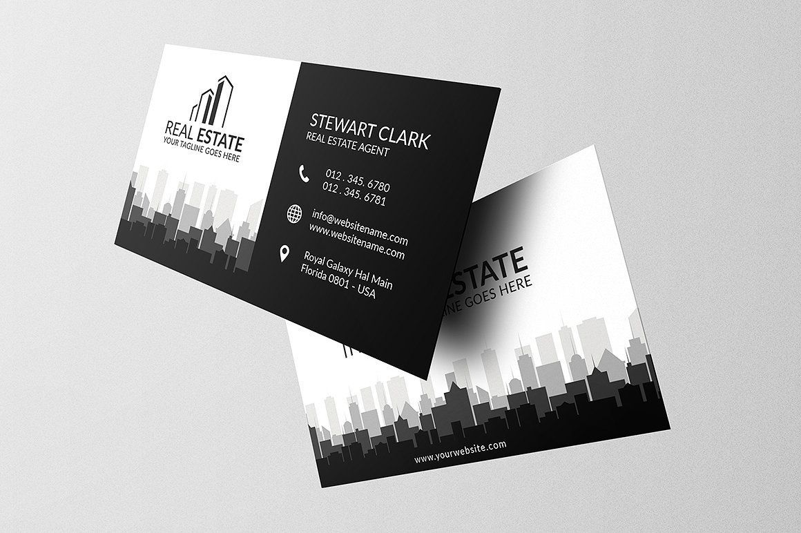 Real Estate Business Card Template Full Bleed Print Ready With Regard To Real Business Card Template Design Free Business Card Templates Business Card Design