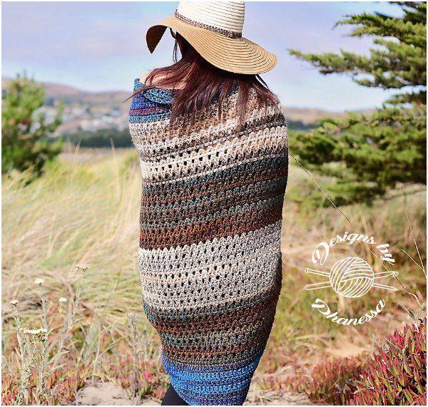 Tunisian Blanket Sweater Crochet Pattern [FREE] #blanketsweater