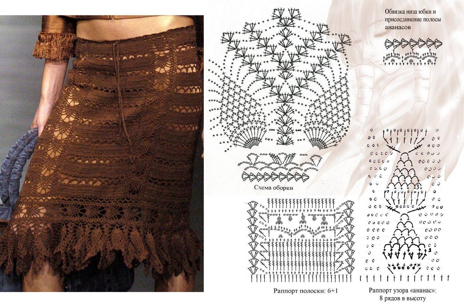 Hermosa Falda Crochet Patrón Libre Embellecimiento - Manta de Tejer ...