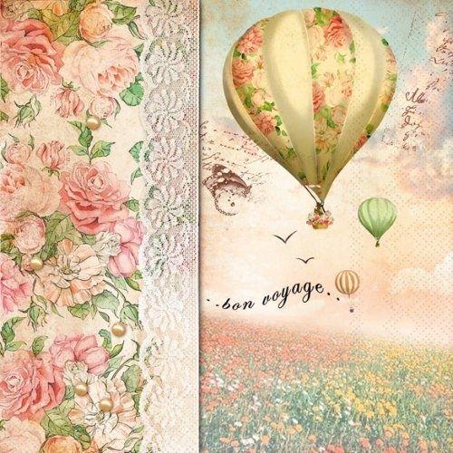 4 X Single Decoupage Paper Napkins Bon Voyage Balloons